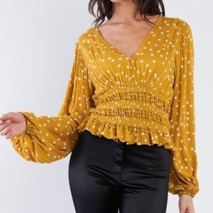 Illustrator Polka Dot Peplum Mustard Top